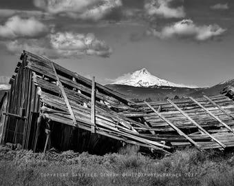 Oregon Photography | Mount Hood | Oregon Landscape Print | Mountain Photo | Old Barn Photograph | Eastern Oregon