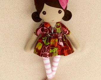 Fabric Doll Rag Doll Small 15 Inch Doll, Brown Haired Girl in Brown, Red, and Blue Owl Print Dress