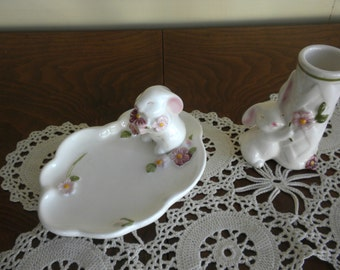 Set of Easter Bunny Bud Vase and Trinket Dish