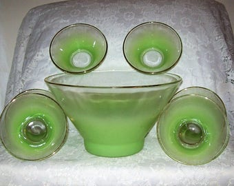 Vintage Chartreuese Lime Green Frosted Blendo 7 Piece Bowl Set by West Virginia Glass Only 28 USD