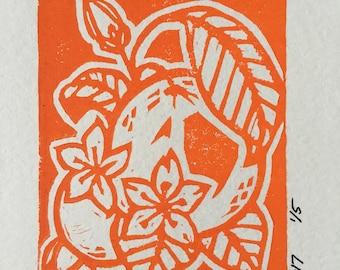 Orange Blossoms Linocut Print