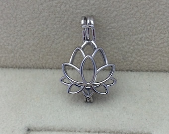 925 Sterling Silver Lotus Flower Pearl Cage Pendant