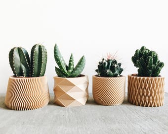 Set of 4 small geometric minimalist Pots / Planters Design Hygge printed in Wood perfect for succulent cactus ! Original gift Mother's Day