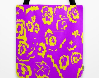 Purple Yellow Tote Bag Abstract Tote Bag Purple Tote Bag Yellow Tote Bag Mom Gift Teacher Gift Nurse Gift Back to School Gift Grocery Bag