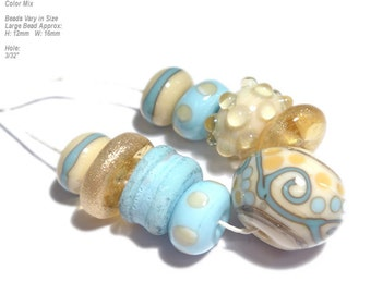 COLLECTION 53  Lampwork Bead Set Handmade Natural Ivory Blue Mix in Organic Design