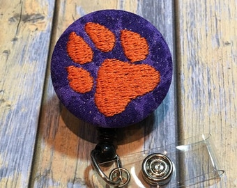 Paw Badge Reel Slide on Clip or Swivel Clip - Id Holder- Retractable