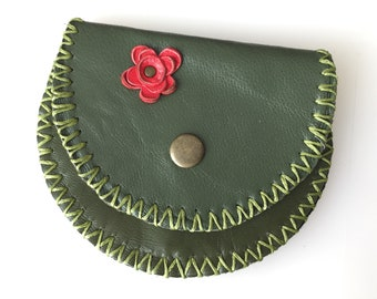 Flower, House Leather Coin Bag, Change Purse with Wax Linen, Handmade Wallet