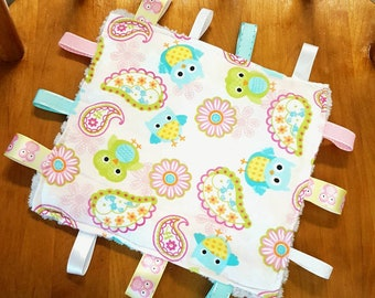 Owl paisley crinkle toy~owl taggy toy~ owl and paisley taggy crinkle paper