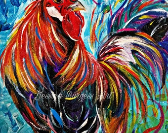 Colorful Struttin Southern Original Rooster Art Painting