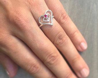 Silver & Ruby Heart Ring