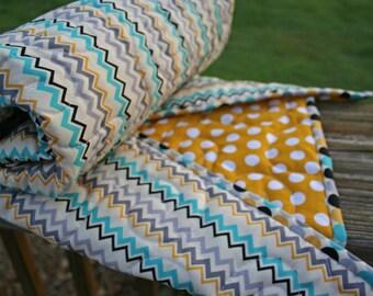 Mustard Dot with Aqua & Gray Chevron Crib Quilt/Baby Quilt
