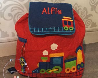 Personalised Stephen Joseph Backpack, School Nursery Bag,  Embroidered, Trains, Boy Girl, Personalized bag