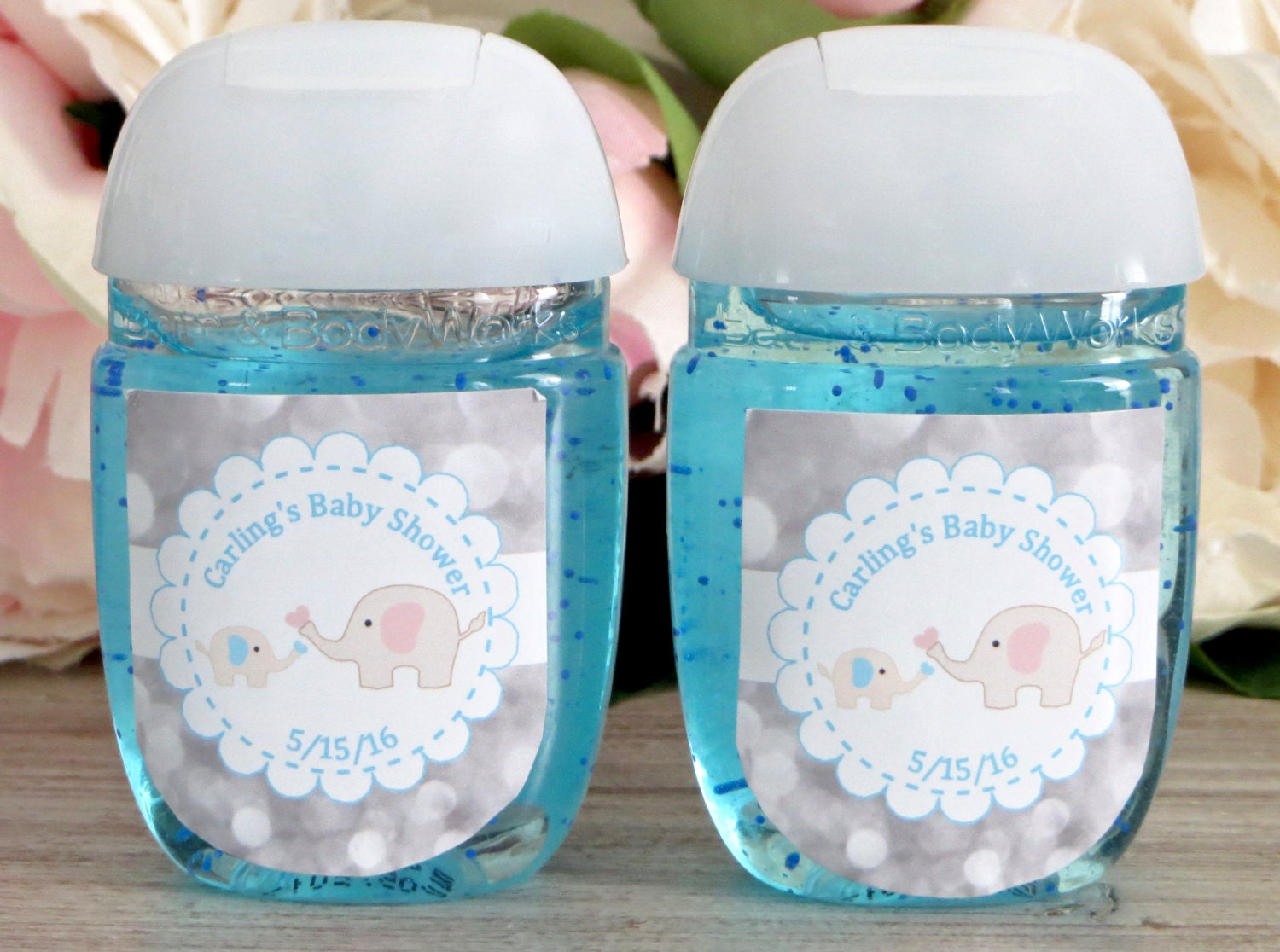 Elephant baby shower favor labels hand sanitizer favor label zoom pronofoot35fo Gallery