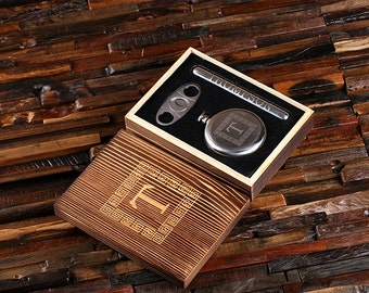 Personalized Round 5 oz. Flask, Cigar Holder and Cutter Men's Gift, Best Man Groomsmen, Father's Day, Boy Friend