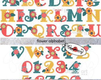 Flower Alphabet: Clip Art Pack (300 dpi transparent png) Card Making Digital Scrapbook Letters Numbers Flower Clipart Colorful Alphabet