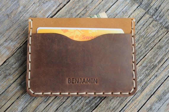 PERSONALIZED Brown Leather Wallet. Tan Detail Inside Cover. Credit Card Cash or ID Holder. Rustic Style Unisex Pouch.