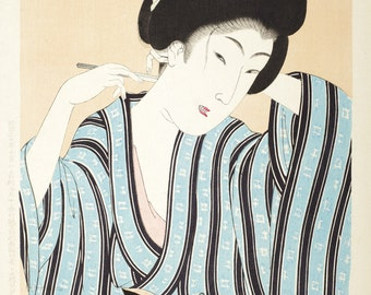 Japanese Woodblock Art.  Portrait of a Woman Styling her Hair, 1897. Fine Art Reproduction