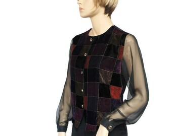 Vintage Velvet Blouse Velvet Jacket Dressy Sheer Women's Top Patchwork Size 10 Petite