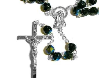 Dark Navy Blue Rosary,  Aurora Borealis, Faceted Beads, Silver Plated, Catholic Rosary, Handmade Rosary