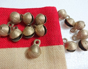 20 mm Indian Brass Bells - set of 10  Ethnic  Brass Bells, gypsy brass bells