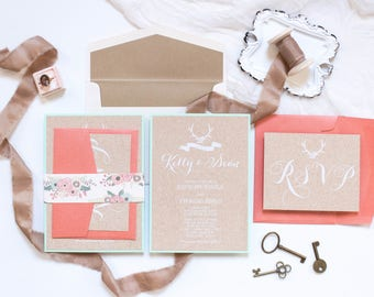 Layered Rustic Antlers Kraft Paper Floral Wedding Invitation Printed with White Ink on Cork in Mint, Coral with RSVP & Wood Envelope Liner