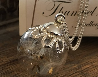 Real Dandelion Seed Orb Necklace - Childhood Memories