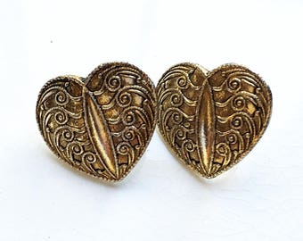 vintage eco friendly antiqued gold tone metal renaissance revival style pierced earrings