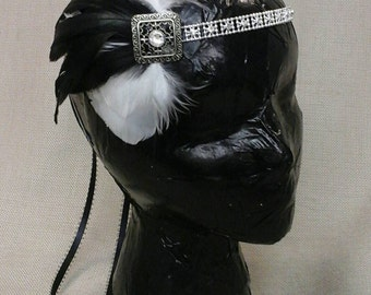 Black and White Feather Flapper Headband