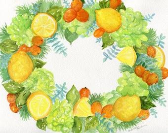 9 x 12 Original Citrus Wreath watercolor painting, lemons, kumquats, lime green hydrangeas, greenery,  watercolor  fruit wreath