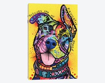 Pit Bull Wall Art, Pit Bull Art Print Decor, Pit Bull Poster, Rescues Are My Favorite Breed, Canvas Art Print, Dog Pet Lover Wall Decor Gift