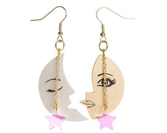 Sun and Moon tarot earrings - laser cut acrylic