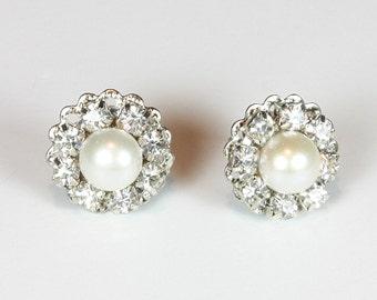 Bridal Pearl Earrings Rhinestone Earrings Vintage Earrings Wedding Pearl Stud Bridal Jewelry Victorian Earrings Bridesmaids Earrings