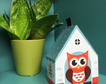 Owl Gift Box | DIY paper ornament | original way to give money | cute small gift wrapping | birdhouse decor | original gift box