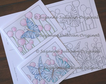 Color It Note Cards, Set of 2, Coloring Page, Adult Coloring, Personal Note Cards, You Color Note Cards, Any Occasion Note Cards