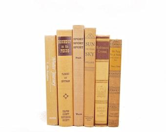 Saffron Yellow Decorative Books, Orange Book Collection,  Book Decor, book stack set, rustic Home Decor, Old Antique Books, fixer upper