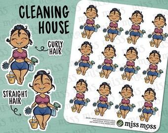 Tan Skin Cleaning Chores Dusting Planner Stickers, Latina Hispanic Boricua - Erin Condren, Happy Planner, Kikki K, Filofax, Decorative