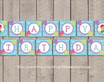 Mermaid Birthday Banner / Little Mermaid Birthday Banner / Ariel Birthday Banner / Mermaid Banner / PDF Printable DIY Girlie
