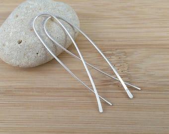 Sterling Silver Open Hoops. Stick Earrings. Criss Cross Threader Open Hoops. Long Pull Through Earrings. Long Silver Earrings. Modern Hoops.