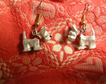 Hand Painted White  Scotty Dog Earrings/  Hypoallergenic Wires and Posts