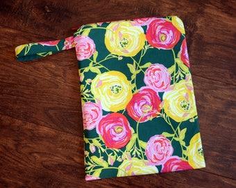 Rose Wet Bag~ Yellow, Pinks, Corals, Green Baby, Travel, Personal, PUL Bag, Swim, Beach Bag~Resuseable Bag