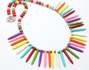 Multicolor Spike Necklace and Earrings - Magnesite Spikes - 16 de Septiembre - Cinco de Mayo - Fiesta