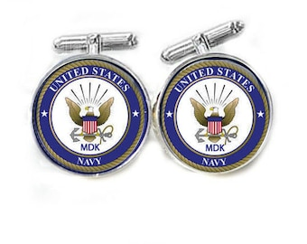 US Navy Cufflinks, Personalized Initials Cuff Links, Military cufflinks
