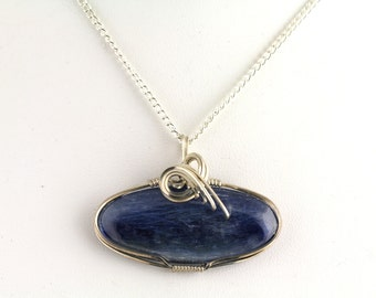 Kyanite Wire Wrap Pendant. Listing 170946856