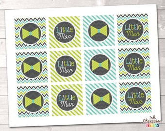Little Man Lime Bowties Cupcake Toppers Printable PDF - INSTANT DOWNLOAD