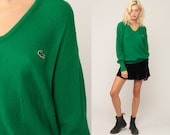 LACOSTE Sweater 80s Slouchy Izod Pullover Green Sweater Vintage 1980s Preppy Slouch Crocodile Nerd Extra Large xl
