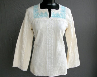 Greek Embroidered Blouse. Turquoise Cross Stitch on Ivory. Medium.