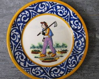 Quimper Pottery, Antique HB Quimper Plate of a Peasant Man , Decor Riche Border, French Faience Pottery, Nice Detailing, #16894