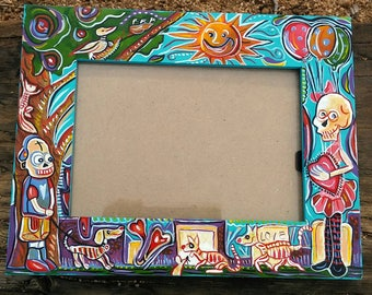 Day of the dead art,skull art,kids room,whimsical,art, vibrant,picture frame,day of the dead,kids,photo frame,pets,funny,handpainted