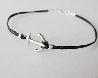 Anchor bracelet, Nautical bracelet, sterling anchor linen bracelet, delta gamma anchor, graduation gift, gift for woman, gift for her
