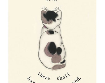 "Cat Quote - Typography Cat illustration print -  4 for 3 SALE - Wherever a cat sits -   8.3"" X 11.7"""" print"